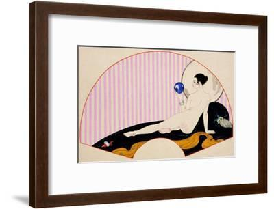 Odalisque with a Crystal Ball, Dated 1920-Georges Barbier-Framed Giclee Print