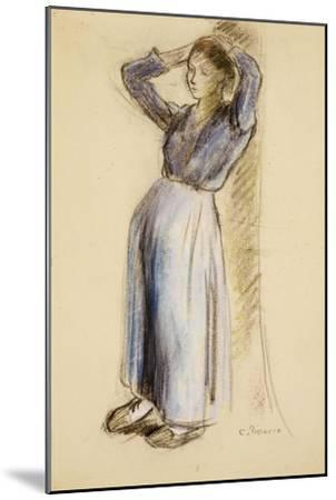 Country Girl Leaning Against a Tree, circa 1893-Camille Pissarro-Mounted Giclee Print