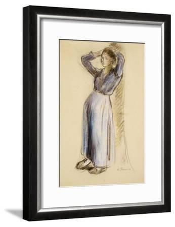 Country Girl Leaning Against a Tree, circa 1893-Camille Pissarro-Framed Giclee Print