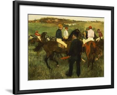 Racehorses (Leaving the Weighing), circa 1874-78-Edgar Degas-Framed Giclee Print