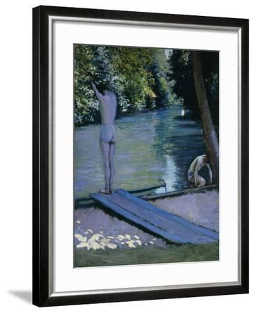 Bather About to Plunge Into the River Lyrres-Gustave Caillebotte-Framed Giclee Print