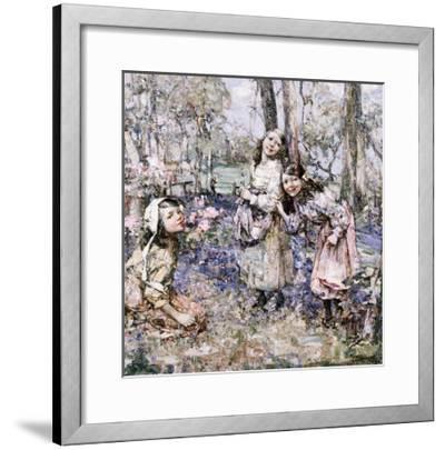 Gathering Bluebells, 1909-Edward Atkinson Hornel-Framed Giclee Print