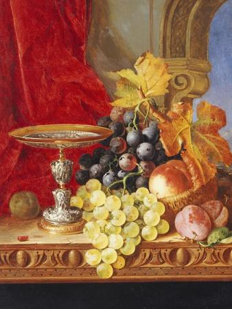Grapes and a Peach with a Tazza on a Table at a Window-Edward Ladell-Framed Giclee Print