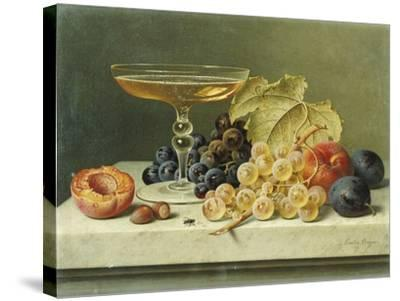 A Glass of Champagne, Grapes Plums and a Peach on a Marble Ledge-Emilie Preyer-Stretched Canvas Print