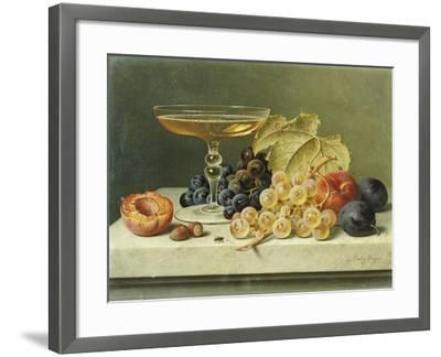 A Glass of Champagne, Grapes Plums and a Peach on a Marble Ledge-Emilie Preyer-Framed Giclee Print
