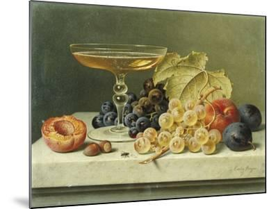 A Glass of Champagne, Grapes Plums and a Peach on a Marble Ledge-Emilie Preyer-Mounted Giclee Print