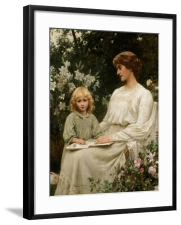 Portrait of a Mother and a Daughter Reading a Book-Edwin Harris-Framed Giclee Print