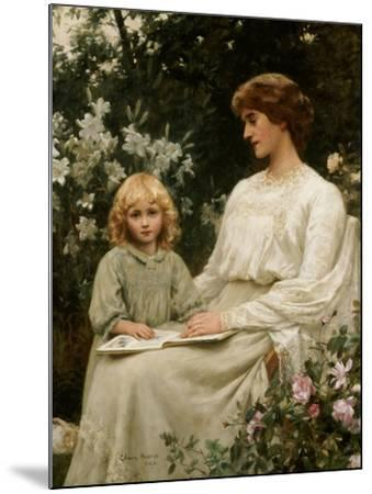 Portrait of a Mother and a Daughter Reading a Book-Edwin Harris-Mounted Giclee Print