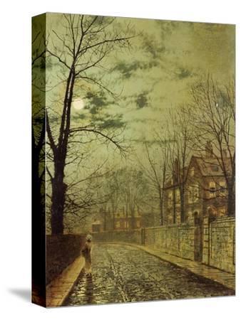 A Moonlit Road-John Atkinson Grimshaw-Stretched Canvas Print