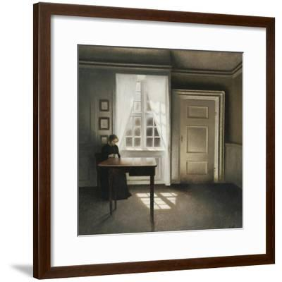 A Woman Sewing in an Interior-Vilhelm Hammershoi-Framed Giclee Print