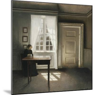 A Woman Sewing in an Interior-Vilhelm Hammershoi-Mounted Giclee Print