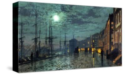 City Docks by Moonlight-John Atkinson Grimshaw-Stretched Canvas Print