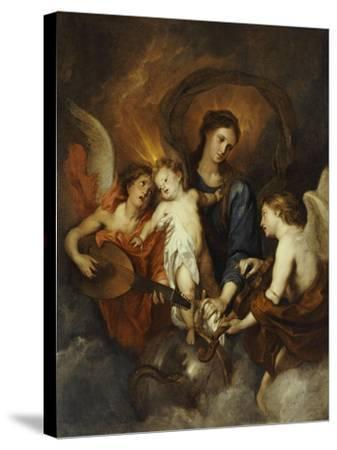 The Madonna and Child with Two Musical Angels-Sir Anthony Van Dyck-Stretched Canvas Print