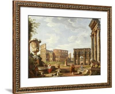 A Capriccio View of Rome with the Colosseum, the Arch of Constantine, 1743-Giovanni Paolo Pannini-Framed Giclee Print