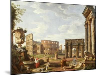 A Capriccio View of Rome with the Colosseum, the Arch of Constantine, 1743-Giovanni Paolo Pannini-Mounted Giclee Print