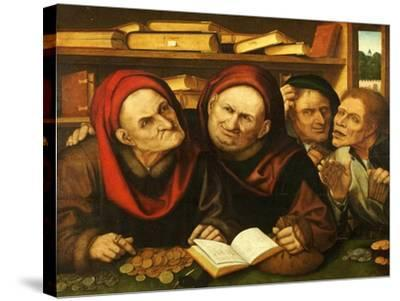 Suppliant Peasants in the Office of Two Tax Collectors-Quentin Metsys-Stretched Canvas Print