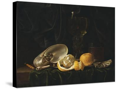 Nautilus Shell, a Roemer Beer Glass, an Orange and a Lemon on a Pewter Plate-Christiaen Luyckx-Stretched Canvas Print