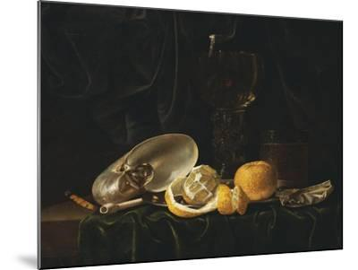 Nautilus Shell, a Roemer Beer Glass, an Orange and a Lemon on a Pewter Plate-Christiaen Luyckx-Mounted Giclee Print