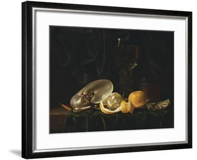 Nautilus Shell, a Roemer Beer Glass, an Orange and a Lemon on a Pewter Plate-Christiaen Luyckx-Framed Giclee Print