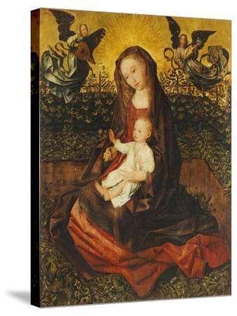 The Virgin and Child with Two Music-Making Angels in a Rose Garden-Rogier van der Weyden-Stretched Canvas Print