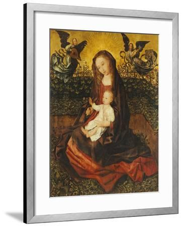 The Virgin and Child with Two Music-Making Angels in a Rose Garden-Rogier van der Weyden-Framed Giclee Print