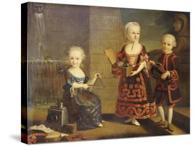 A Girl with a Marmoset in a Box, a Girl with a Triangle Sitting, and a Boy with a Hurdy-Gurdy-Francois Hubert Drouais-Stretched Canvas Print