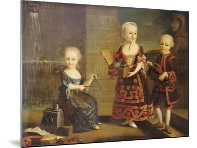 A Girl with a Marmoset in a Box, a Girl with a Triangle Sitting, and a Boy with a Hurdy-Gurdy-Francois Hubert Drouais-Mounted Giclee Print