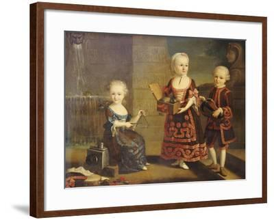 A Girl with a Marmoset in a Box, a Girl with a Triangle Sitting, and a Boy with a Hurdy-Gurdy-Francois Hubert Drouais-Framed Giclee Print