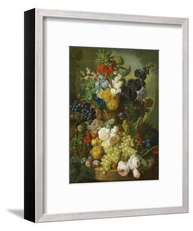 A Still Life of Flowers and Fruit-Jan van Os-Framed Premium Giclee Print
