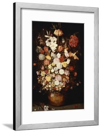 A Crown Imperial, a Peony and Other Flowers in a Wooden Tub with Butterflies and Beetles-Jan Brueghel the Elder-Framed Giclee Print