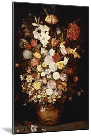 A Crown Imperial, a Peony and Other Flowers in a Wooden Tub with Butterflies and Beetles-Jan Brueghel the Elder-Mounted Giclee Print