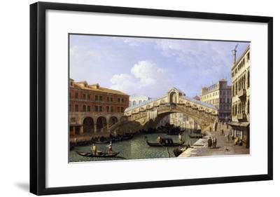 The Rialto Bridge Venice from the South with the Fondamenta Del Vin and the Fondaco Dei Tedeschi-Canaletto-Framed Giclee Print