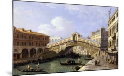 The Rialto Bridge Venice from the South with the Fondamenta Del Vin and the Fondaco Dei Tedeschi-Canaletto-Mounted Giclee Print