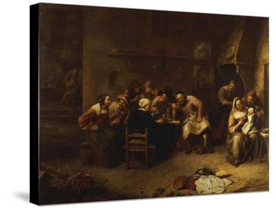 Peasants Drinking and Smoking in an Inn-Gillis Van Tilborch-Stretched Canvas Print