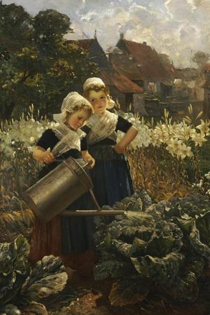 The Little Gardeners-Edmond Louyot-Stretched Canvas Print