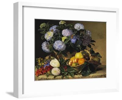 Hydrangea in an Urn and a Basket of Fruit on a Ledge-Johan Laurentz Jensen-Framed Giclee Print