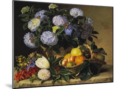 Hydrangea in an Urn and a Basket of Fruit on a Ledge-Johan Laurentz Jensen-Mounted Giclee Print