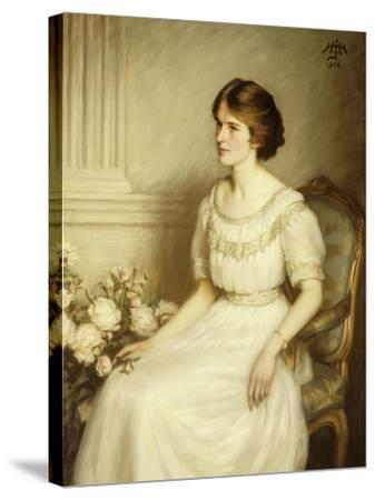 Portrait of Mary Doris Reed, Seated Half Length, Wearing a White Dress-Henry John Hudson-Stretched Canvas Print