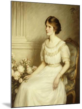 Portrait of Mary Doris Reed, Seated Half Length, Wearing a White Dress-Henry John Hudson-Mounted Giclee Print