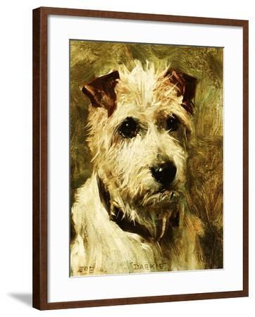 Portrait of a Terrier: Darkie, 1903-John Emms-Framed Giclee Print