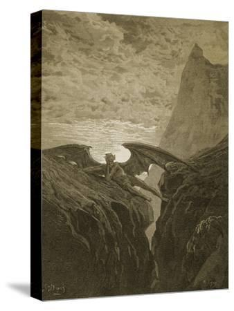 Satan Resting on the Mountain-Gustave Dor?-Stretched Canvas Print