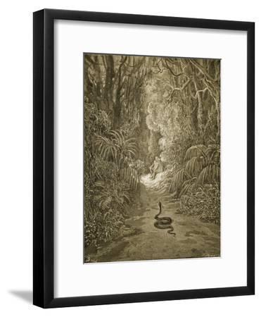 Satan As a Serpent Enters Paradise-Gustave Dor?-Framed Giclee Print