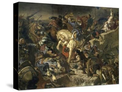 La Bataille de Taillebourg-Eugene Delacroix-Stretched Canvas Print