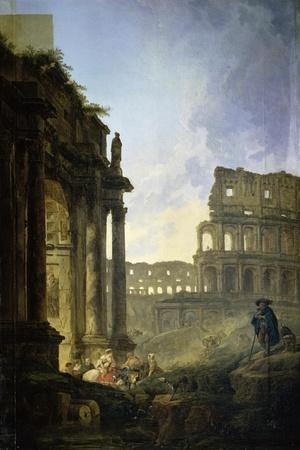Landscape of Italy-Hubert Robert-Stretched Canvas Print