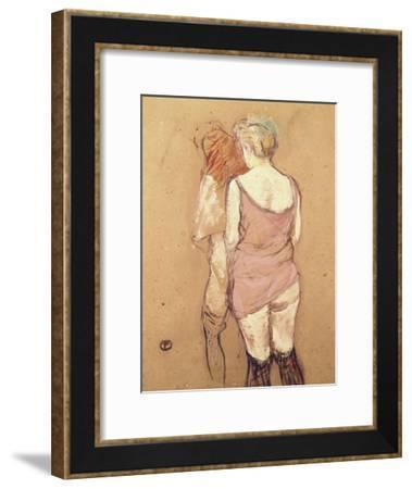 Rue de Moulins: The Medical Inspection-Henri de Toulouse-Lautrec-Framed Giclee Print