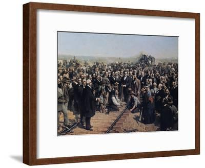 The Last Spike May 10 1869-Thomas Hill-Framed Giclee Print