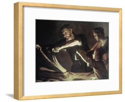 Holy Family in the Carpentery Shop-Gerrit van Honthorst-Framed Giclee Print