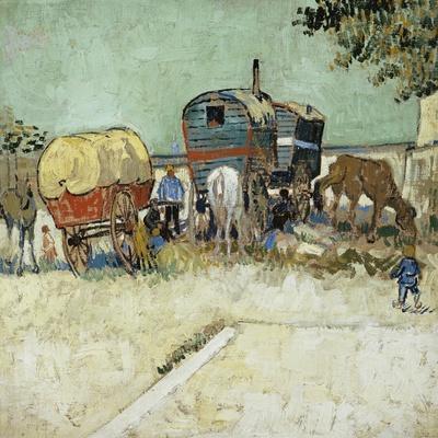 Caravans Encampment of Gypsies-Vincent van Gogh-Stretched Canvas Print
