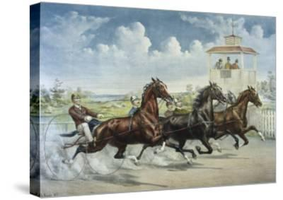 Pacing for a Grand Purse-Currier & Ives-Stretched Canvas Print
