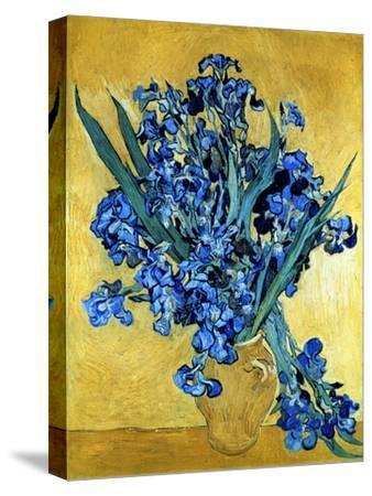Vase of Irises Against a Yellow Background, c.1890-Vincent van Gogh-Stretched Canvas Print